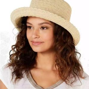 NINE WEST packable adjustable tan sunhat